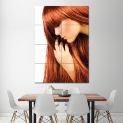 Long Straight Red Hairstyle Barber Haircuts Block Giant Wall Art Poster (P-1338)