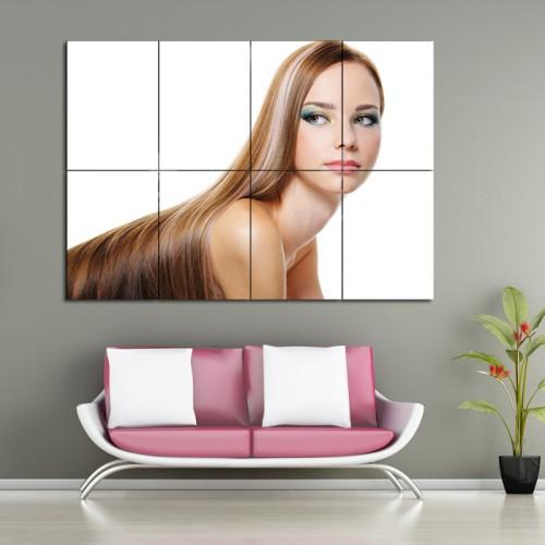 โปสเตอร์ ขนาดใหญ่ ภาพทรงผมผู้หญิง ทรงผมยาวเรียบสีบลอนด์