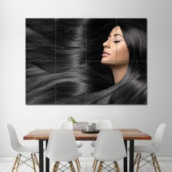 Long Straight Black Hairstyle Barber Haircuts Block Giant Wall Art Poster (P-1343)