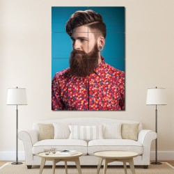 Modern Pompadour hairstyles Barber Haircuts Block Giant Wall Art Poster (P-1345)