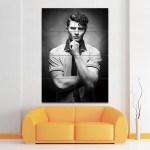 Wavy Hair Side Part Men Barber Haircuts Block Giant Poster