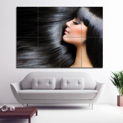 Long Black Straight Hairstyles With Bangs Barber Haircuts Block Giant Poster (P-1347)