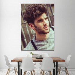 Men curly Medium Length hairstyles Barber Haircuts Block Giant Poster (P-1348)