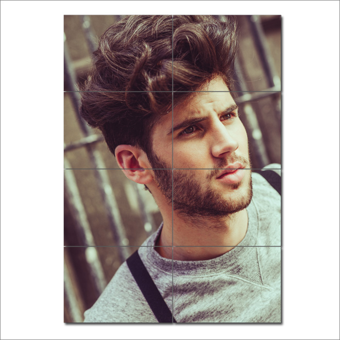 Men Curly Medium Length Hairstyles Barber Haircuts Poster