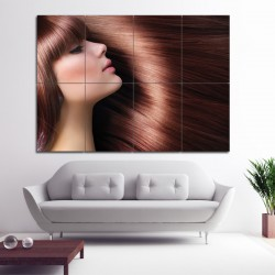 Long HairStyles with Bangs Barber Haircuts Block Giant Wall Art Poster (P-1351)