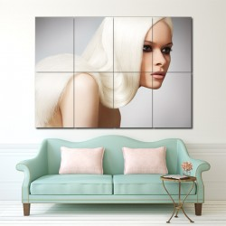 Long Straight Blonde Hair Barber Haircuts Block Giant Wall Art Poster (P-1353)