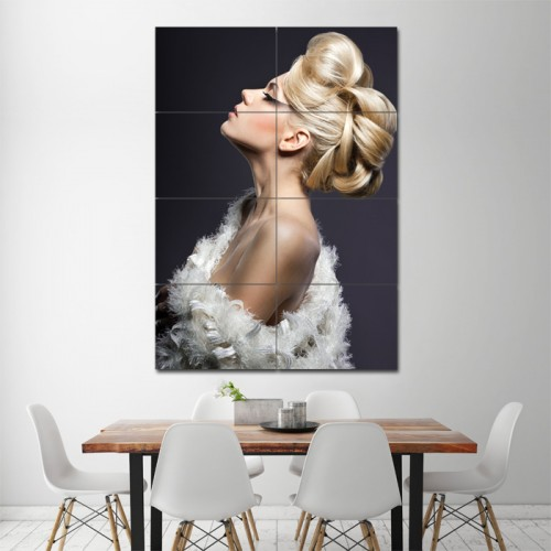 Tucked Up Bun Hair Barber Haircuts Block Giant Wall Art Poster