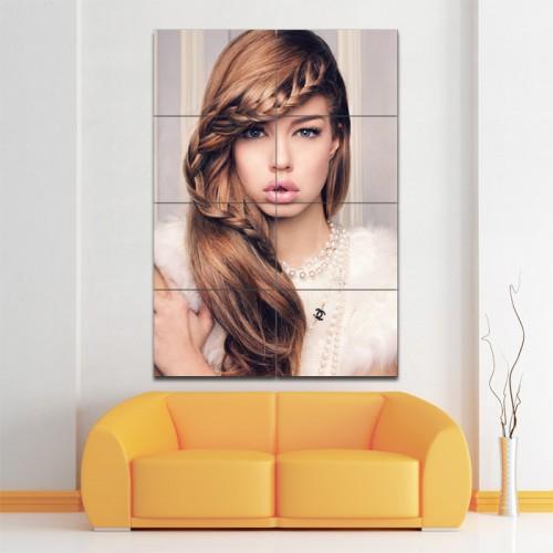 โปสเตอร์ ขนาดใหญ่ ภาพทรงผมผู้หญิง ถักเปียด้านหน้า