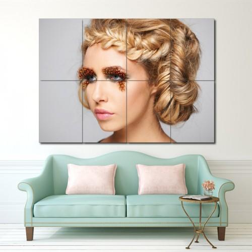 โปสเตอร์ ขนาดใหญ่ ภาพทรงผมผู้หญิง ถักเปียเกล้าผม