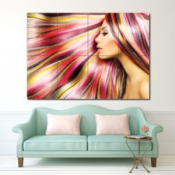 Colorful Long Straight Hairstyle Barber Haircuts Block Giant Poster (P-1359)