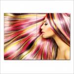 โปสเตอร์ ขนาดใหญ่ ภาพทรงผมผู้หญิง ทรงผมตรงที่มีสีสัน