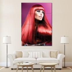โปสเตอร์ ขนาดใหญ่ ภาพทรงผมผู้หญิง  ผมสีแดงยาวตรงหน้าม้า (P-1360)