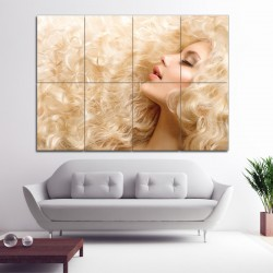 Blonde Long Curls Barber Haircuts Block Giant Wall Art Poster (P-1361)