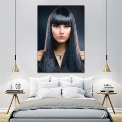 Long Black Straight Hair With Bangs Barber Haircuts Block Giant Poster (P-1364)
