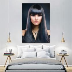 โปสเตอร์ ขนาดใหญ่ ภาพทรงผมผู้หญิง  ผมสีดำยาวตรงหน้าม้า (P-1364)