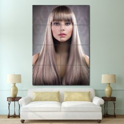 Sleek Straight hair with front bangs Barber Haircuts Block Giant Poster (P-1365)