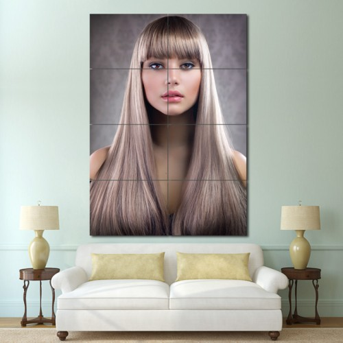โปสเตอร์ ขนาดใหญ่ ภาพทรงผมผู้หญิง ผมยาวตรงหน้าม้า