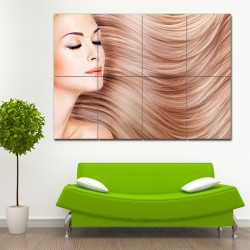 Long Straight Hair Barber Haircuts Block Giant Wall Art Poster (P-1368)