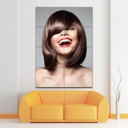Sleek Bob Pony Hairstyle Barber Haircuts Block Giant Wall Art Poster (P-1373)