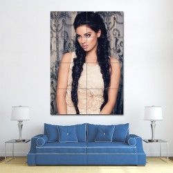 Two Long Braids with Middle Parting Barber Haircuts Block Giant Wall Art Poster (P-1388)