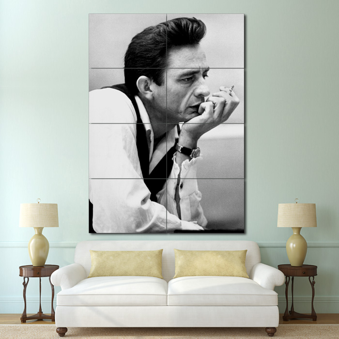Johnny Cash Smoking Block Giant Wall Art Poster