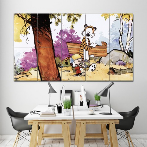 Calvin and Hobbes Sledding Block Giant Wall Art Poster