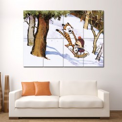 Calvin and Hobbes Toboggan  Block Giant Wall Art Poster (P-1411)