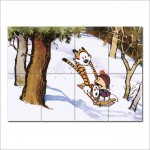 โปสเตอร์ ขนาดใหญ่ การ์ตูน Calvin and Hobbes  Sledding