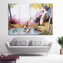 Calvin and Hobbes Fishing Block Giant Wall Art Poster (P-1418)
