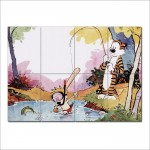 Calvin and Hobbes Fishing Block Giant Wall Art Poster