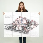 Ducati Motorcycle Bike Race Sketch Block Giant Wall Art Poster