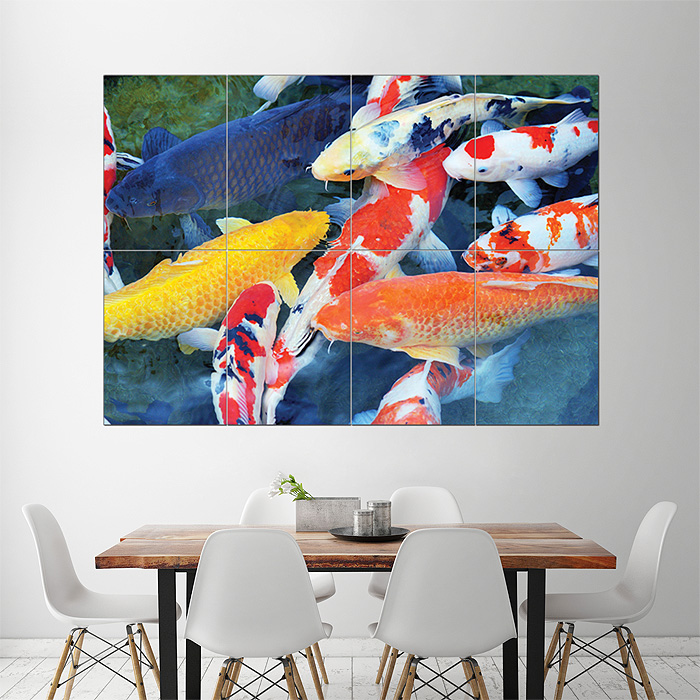 Koi fish block giant wall art poster for Koi carp wall art