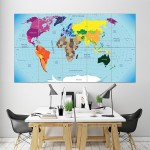 World Map  Block Giant Wall Art Poster