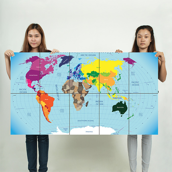 Map block giant wall art poster world map block giant wall art poster sciox Gallery