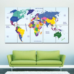 World Map #2 Block Giant Wall Art Poster (P-1462)