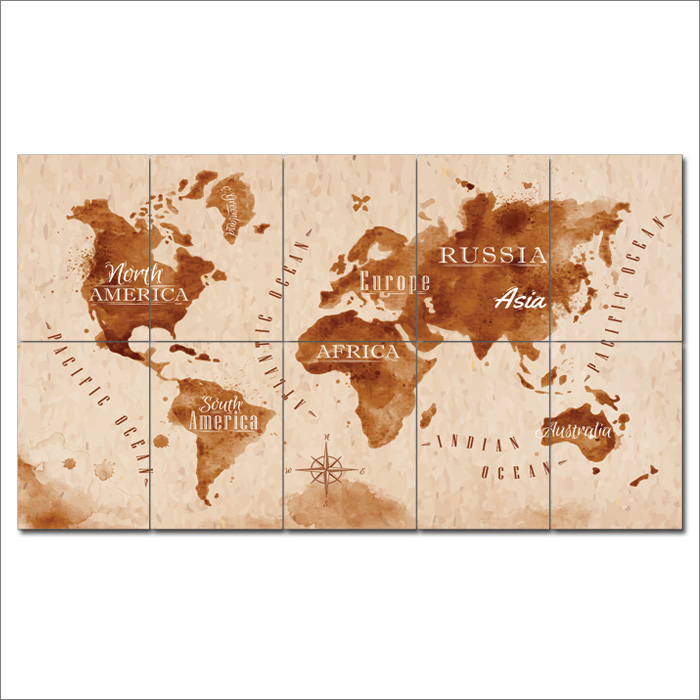 Retro vintage world map block giant wall art poster vintage world map block giant wall art poster gumiabroncs Image collections