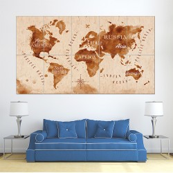 Vintage World Map Block Giant Wall Art Poster (P-1463)