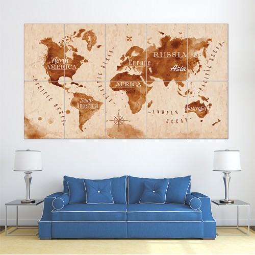 โปสเตอร์ ขนาดใหญ่ ภาพแผนที่โลก World Map Retro