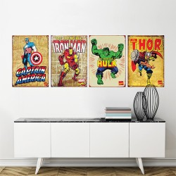 Iron Man, Thor, Hulk, Captain America Block Wall Art Poster (P-1476)
