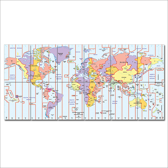 Zone world map block giant wall art poster time zone world map block giant wall art poster publicscrutiny Images