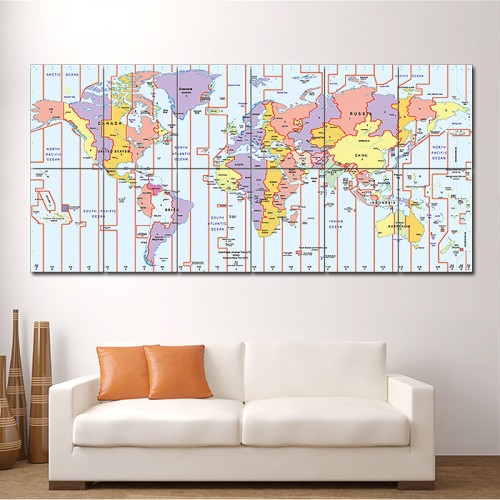 โปสเตอร์ ขนาดใหญ่ ภาพแผนที่เขตเวลา Time Zone World Map