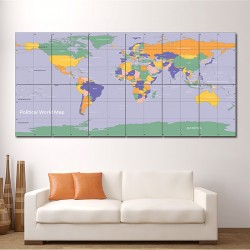 Political  World Map  Block Giant Wall Art Poster (P1478)