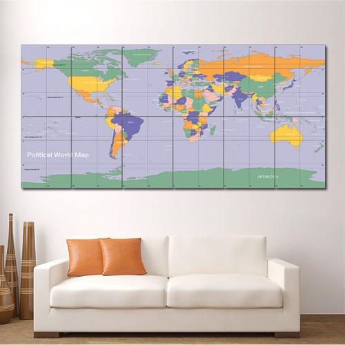 โปสเตอร์ ขนาดใหญ่ ภาพแผนที่โลก Political  World Map