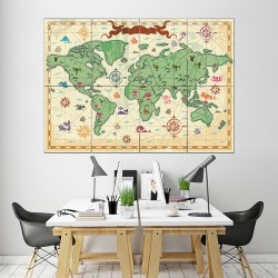 Nursery World Map Block Giant Wall Art Poster (P-1484)