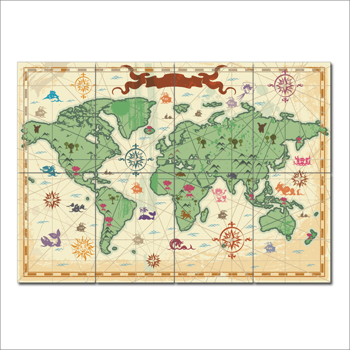 Nursery world map block giant wall art poster gumiabroncs Images