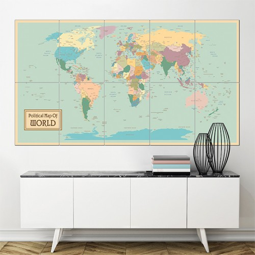 Political Map of World Block Giant Wall Art Poster