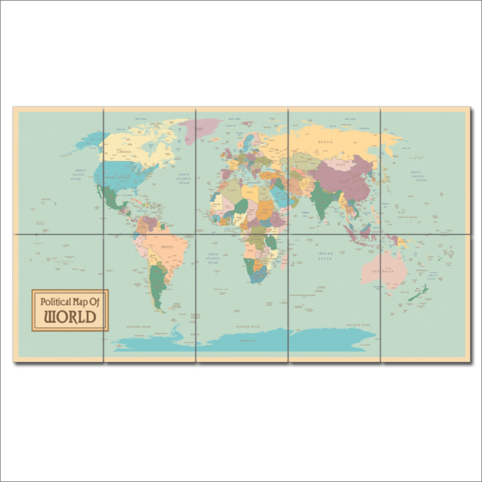 Map of world block giant wall art poster political map of world block giant wall art poster gumiabroncs Gallery