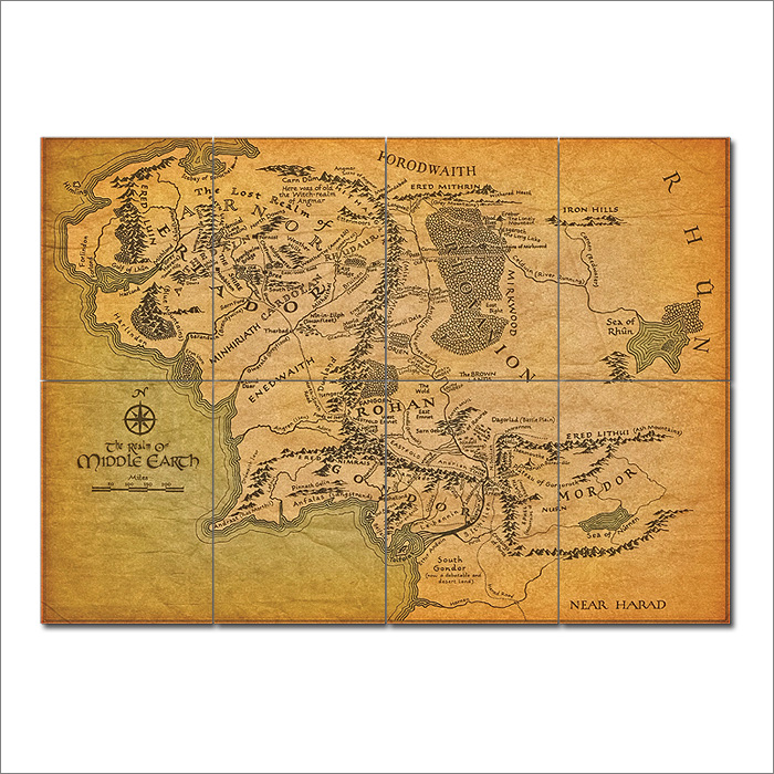 map of middle earth lord of the rings giant wall art poster
