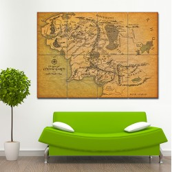 Map of Middle Earth - Lord of the Rings #2 Block Giant Wall Art Poster (P-1491)