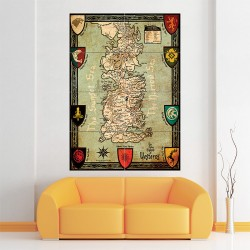 Game of thrones Map Seven Kingdoms of Westeros Block Giant Wall Art Poster (P-1496)